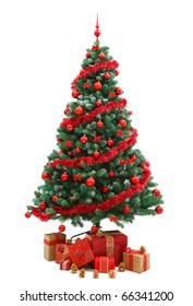 Decorated Christmas tree with red ornaments and plenty of gifts