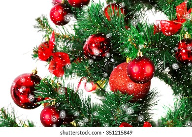 Decorated Christmas tree with stars and snow