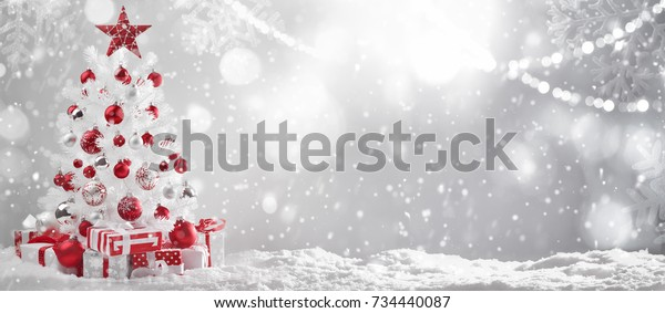 Decorated Christmas tree in winter setting