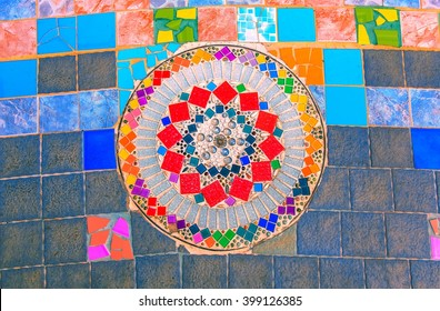 Decorated with colorful ceramic Unseen  handwork on fancy color glass and ceramic tiles decoration.