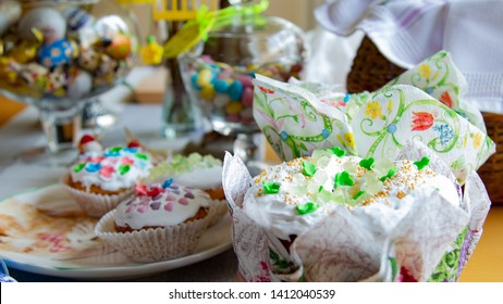 Decorated cupcakes on the holiday table