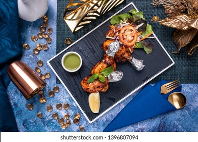 decorated delicious Arabian halal food with props