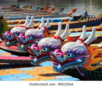 Decorated dragon boats are anchored on the Love River in Kaohsiung