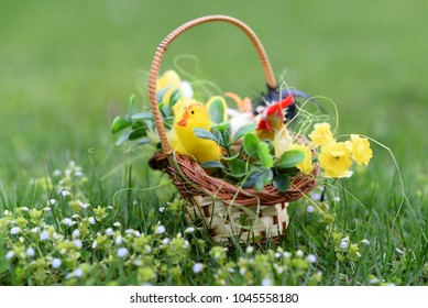 Decorated Easter egg with Basket in background