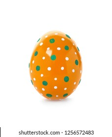 Decorated Easter egg on white background. Festive tradition