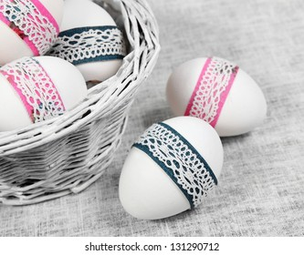 Decorated Easter Eggs Close and in Basket