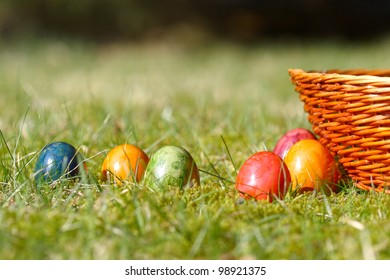 Decorated easter eggs in the grass -close up