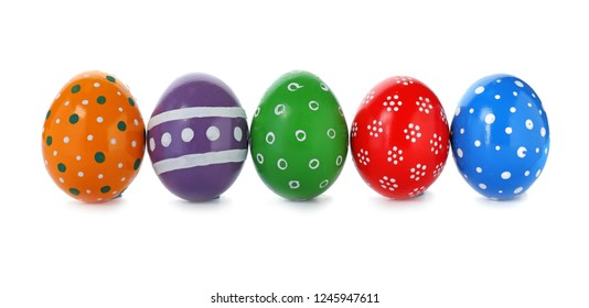 Decorated Easter eggs on white background. Festive tradition