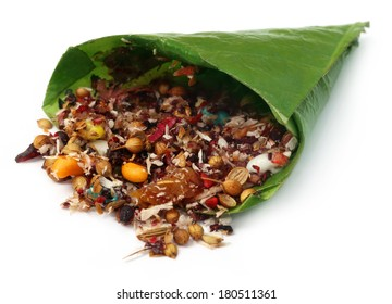 Decorated edible betel leaf for festivals over white background