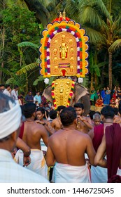 Decorated elephant in the procession during ritual at  Sree Kalari Bhagavathi Temple Festival on March 20, 2019 in Vilayur, Palakkad District, Kerala, India.