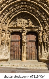 Decorated entrance of the El Salvador church in Requena, Spain
