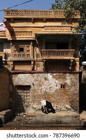 Decorated facade of a residential building in Jaisalmer, Rajasthan, India
