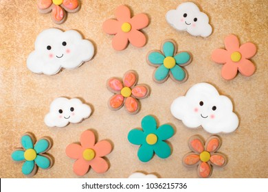 Decorated fantasy cookies background