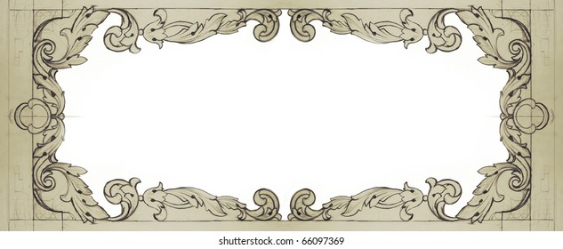 decorated frame drawn in pencil
