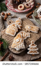 Decorated gingerbread Christmas cookies on a table