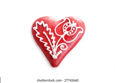 A decorated gingerbread valentine heart