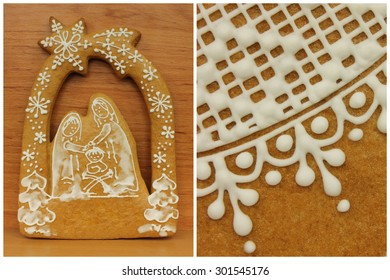 Decorated gingerbread with white pattern in detail