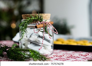 Decorated glass jar with christmas candy