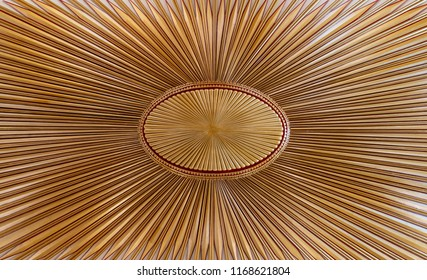 Decorated golden wooden ceiling with design based on the old flag of the ottoman empire, Cairo, Egypt