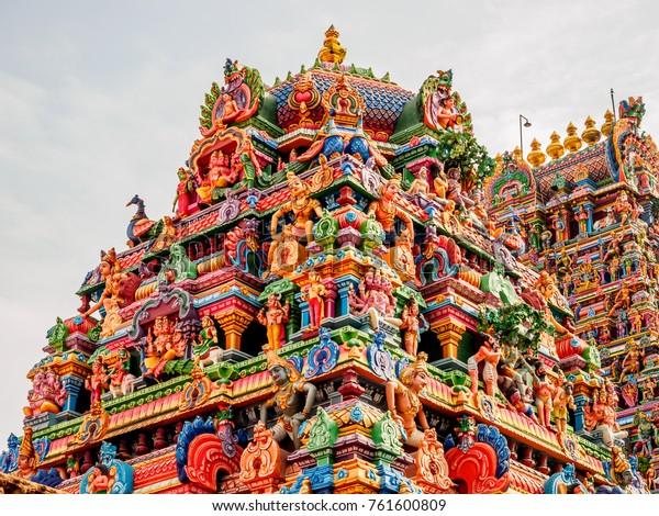Decorated Gopuram Entrance Tower Into Chaple Stock Photo