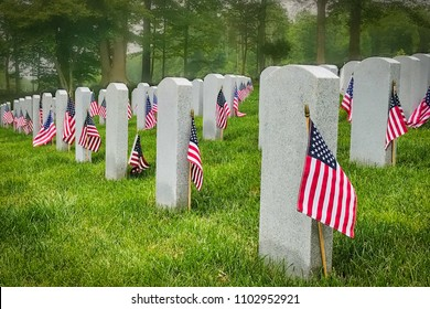 Decorated graves of US military service members at a Virginia cemetery with a misty forest in the background.
