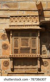 decorated Haveli oriel in Jaisalmer, Rajasthan, India