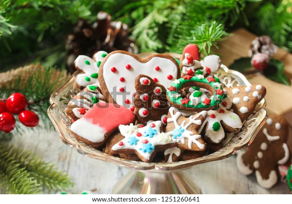 Decorated Homemade Christmas Cookies On Festive Stock Photo Edit
