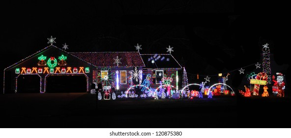 Decorated House with lights Holidays Season Thanksgiving, Christmas and New year