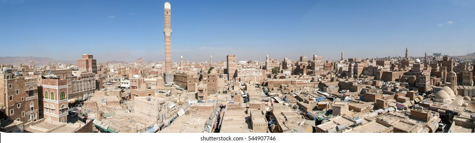 The decorated houses of old Sana on Yemen, unesco world heritage