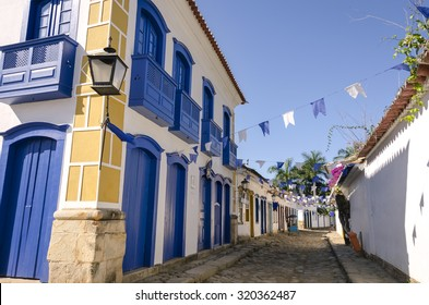 decorated houses in Paraty in Brazil