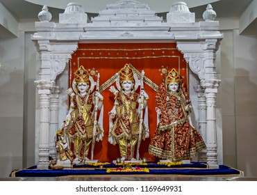 Decorated idols of Hindu Gods Ram, Lakshman & Godless Sita in a temple at Somnath.