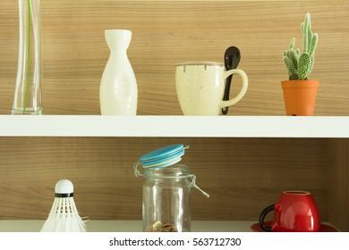Decorated interior on shelf