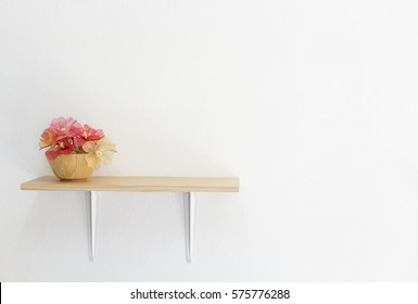 Decorated interior on shelf, put on flower
