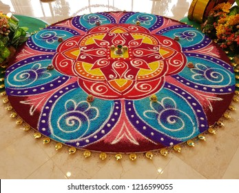 Decorated 'kolam' at shopping mall for Diwali celebration