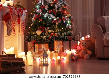 decorated living room with beautiful christmas tree - Decorating Living Room With Christmas Lights