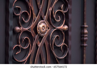 decorated magnificent wrought-iron gates, ornamental forging, forged elements close-up
