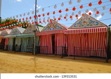 Decorated marquee tents at the April fair in Seville, Spain