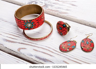 Decorated mosaic braceletes. Women's accessories decorated with mosaic.