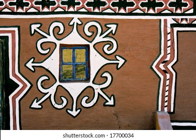 Decorated mud wall of a traditional South African Basuthu hut