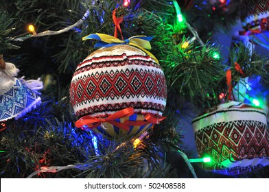 Decorated New Year and Christmas dinghies in Ukrainian folk and traditional style