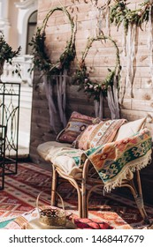 Decorated photo zone in the style of boho.
