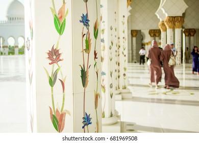 Decorated Pillars, A photo taken at Abu dhabi, United Arab Emirates