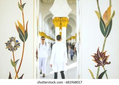 Decorated Pillars of Sheikh Zayed Grand Mosque, A photo taken at Abu dhabi, United Arab Emirates