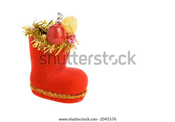 Decorated Santa's boot, isolated on a white background