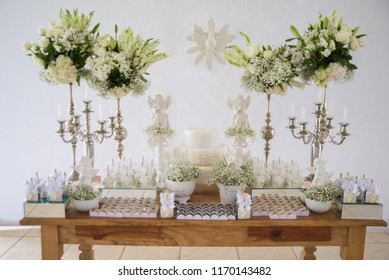Decorated table of baptism