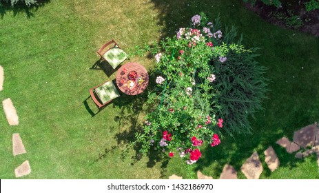 Decorated table with cheeses, strawberry and wine in beautiful rose garden, aerial top view of romantic date table food setting for two from above
