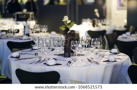 Decorated Table On Gala Dinner Party Stockfoto Jetzt Bearbeiten