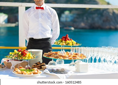Decorated table reception at beach resort