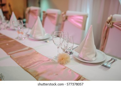 Decorated table in the restaurant