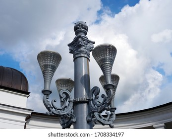Decorated vintage wrought iron lamppost